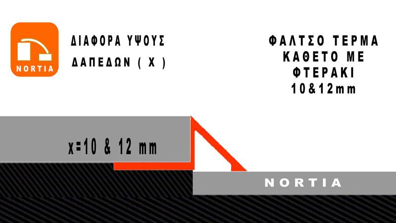 αρμοκαλυπτρο δαπεδου φαλτσο τερμα -διαφορα υψους δαπεδων 10mm- Nortia