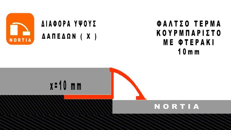 αρμοκαλυπτρο δαπεδου φαλτσο κουρμπαριστο -διαφορα υψους δαπεδων 10mm- Nortia