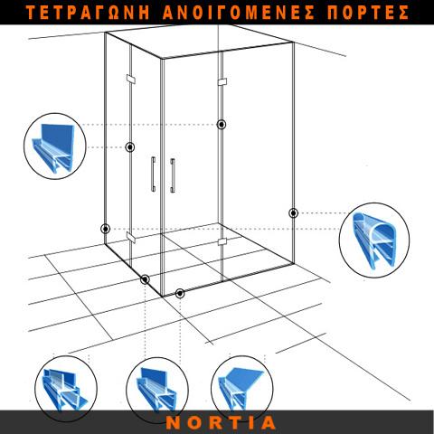 τετραγωνη καμπινα ντουζιερας ανοιγομενες πορτες-λαστιχο ντουζιερας