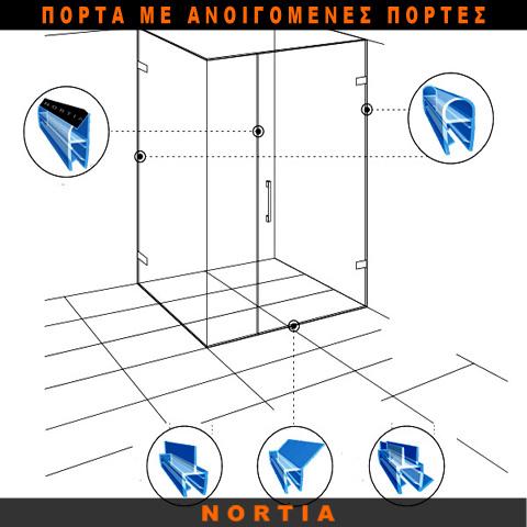 πόρτα ντουζιερας-ανοιγομενες πορτες-λαστιχο ντουζιερας